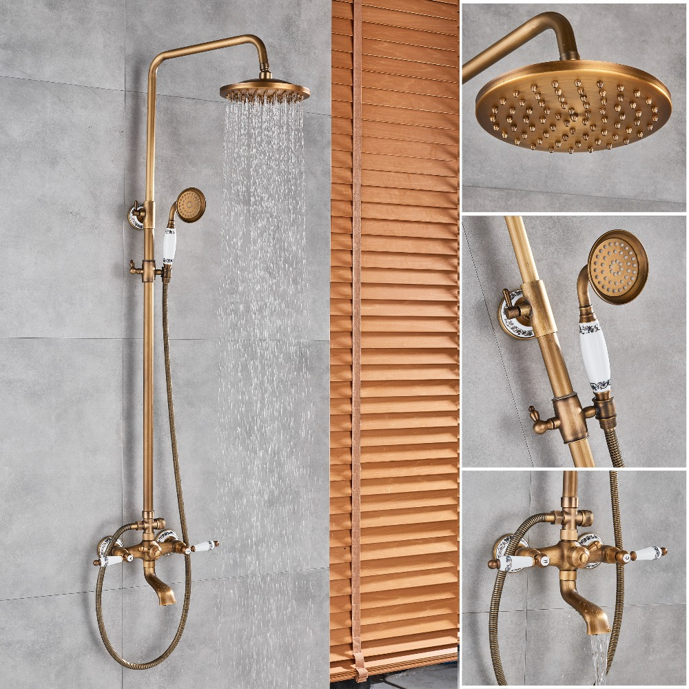 Antique Brass Shower Faucet Set Shower Mixer tap Rainfall 8