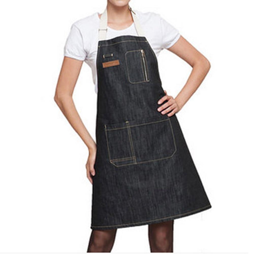 Buy white apron nz - Kitchen Apron 1pcs 70 60cm Unisex Solid Denim Pocket Cooking Aprons Kit Bib Restaurant Home