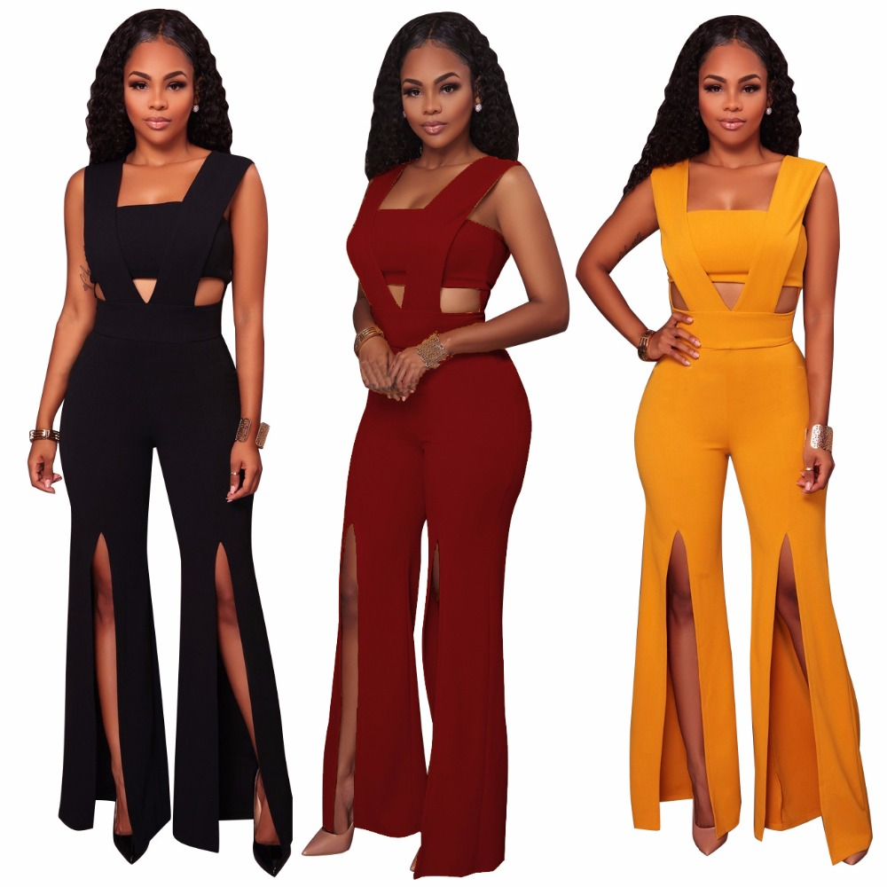 2019 Fashion Women jumpsuit <font><b>Sexy</b></font> Playsuits Plus size bodysuit Solid color <font><b>culottes</b></font> Strapless image