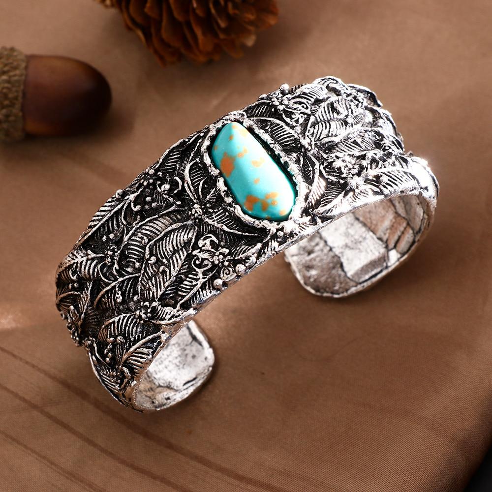 1PC 2019 New Arrival Blue Tibetan Silver Retro Vintage Indian Big Wide Open Cuff Bangles Boho Bracelet Women's Fashion Jewelry