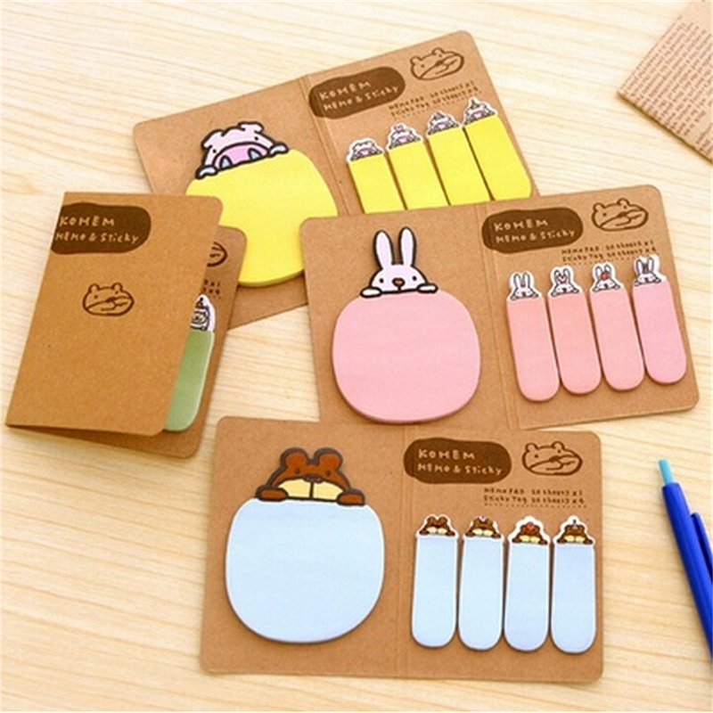 Orderly New Mini Memo Pad Sticky Notes Bookmark Stationery Planner Cute Novelty Kawaii Animal Pig Rabbit Bear Sheep Kraft Paper Hot Sale Notebooks & Writing Pads Memo Pads
