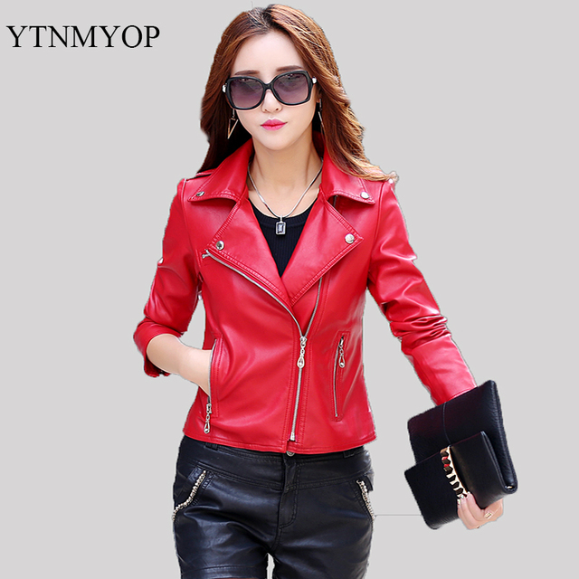 dba2454df Motorcycle Leather Jacket Women Red Slim Fashion Outerwear Leather ...