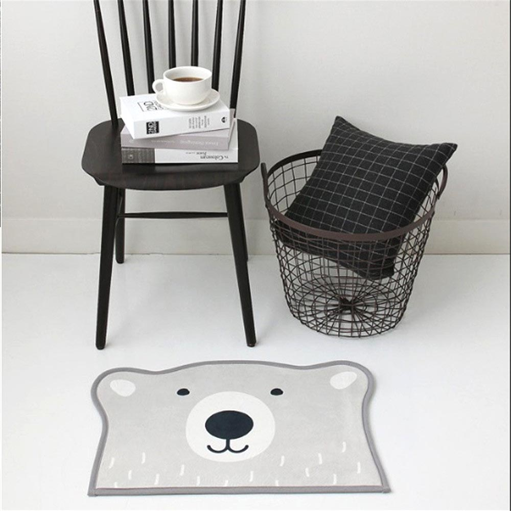 40*60cm Unique Vogue Polar Bear Shape Flannel Floor Bath Mats Set Non Slip  Bathroom Toliet Rugs Water Absorption Carpet For Home