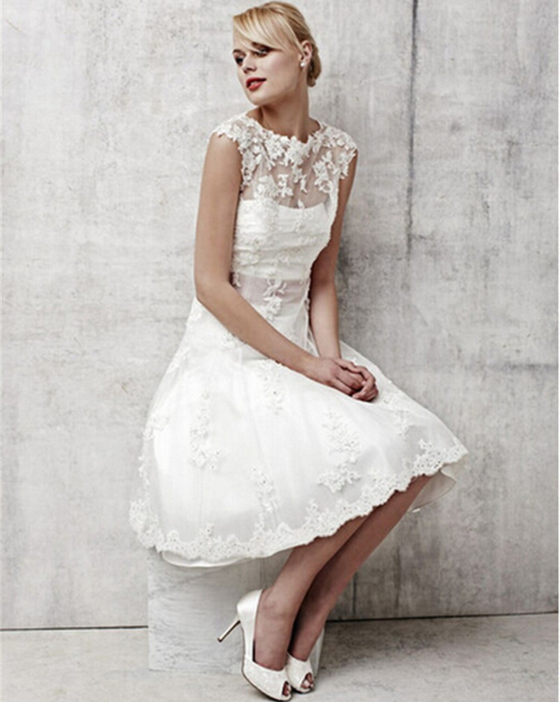Vintage White Lace Bridal Dresses Short Wedding Dress 2015