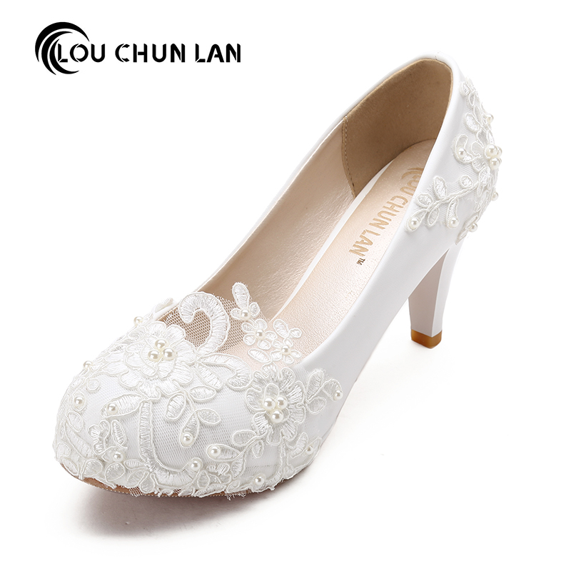 Women Pumps Wedding Shoes large size 41-48 Handmade lace  White Bridal Shoes Bridesmaid Shoes banquet dress Shoes  8.5cm Heel new arrival white wedding shoes pearl lace bridal bridesmaid shoes high heels shoes dance shoes women pumps free shipping party
