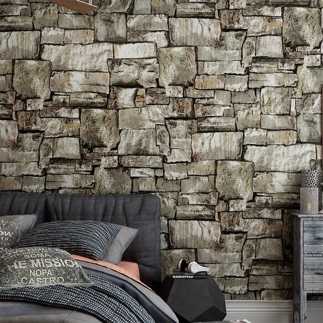 10 meter 3d stone brick wallpapers mural roll wallpaper for Brick mural wallpaper
