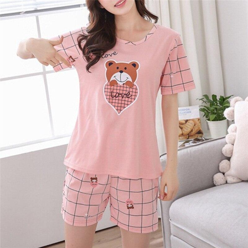 Summer Young Girl Short Sleeve Cotton Pajamas For Women Cute Cat Bear Nightshirt Casual Home Service Short Sleepwear M-2XL