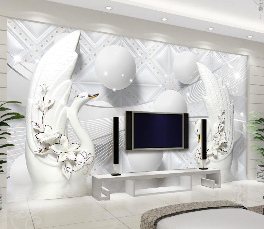 Elegant Wallpaper For Wall: Modern European Elegant 3D Murals Wallpaper Photo White