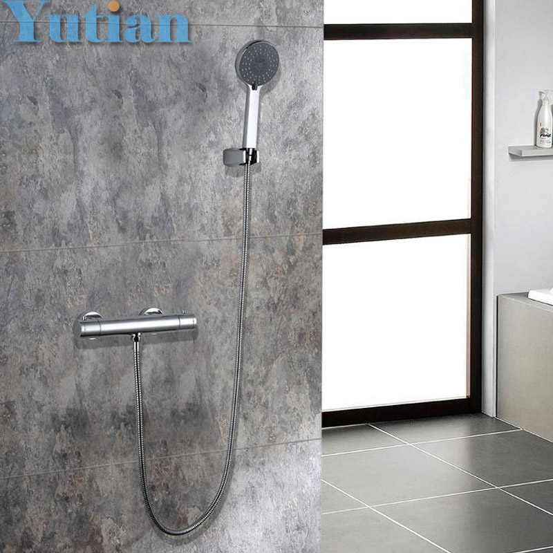 Free shipping luxury wall mounted thermostatic shower faucet set mixer tap, thermostatic valve + hand shower YT-5349 new chrome 6 rain shower faucet set valve mixer tap ceiling mounted shower set