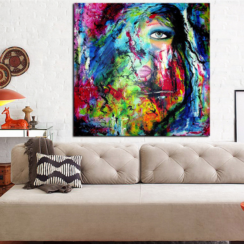 Graffiti Stree Art Watercolor Women Face Oil Painng on Canvas Pop Art Abstract Wall Picture for Living Room Sofa Cuadros in Painting Calligraphy from Home Garden