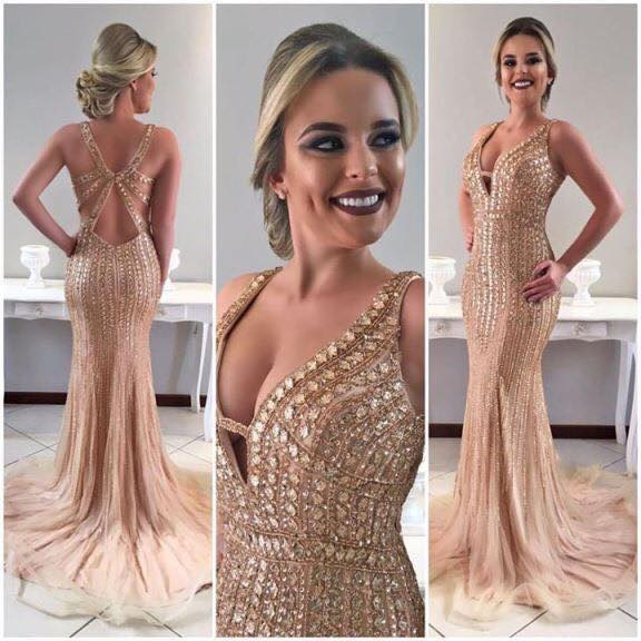 Gorgeous New Mermaid   Evening     Dresses   2019 V-Neck Sleeveless Floor Length Crystal Beaded Tulle Prom   Dresses   Vestido longo