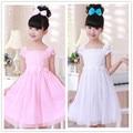 Мода лето 2016 девушки хлопок цветочные платья розовый с коротким Рукавом О-Образным Вырезом цветок принцесса свадебные платья для свадьбы 2-7 лет