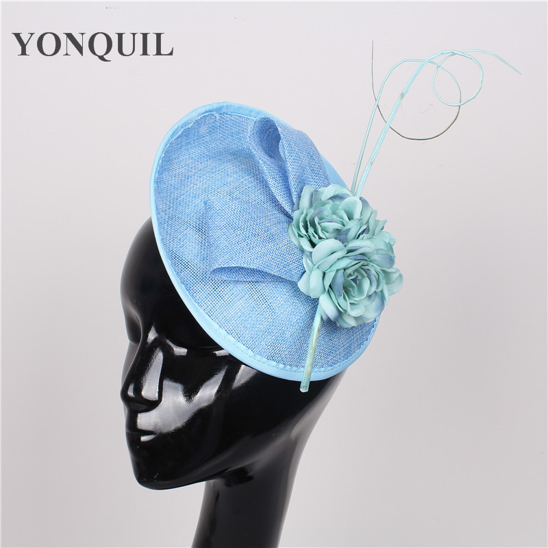 Women church fascinator hat with ostrich quill and silk flower hats on hairbands bridal DIY hair accessory for wedding party диван еврокнижка кардинал 2