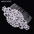 Mecresh Gorgeous Top Crystal Wedding Hair Accessories Bridal Hair Jewelry Flower Combs Best Gift for Christmas New Year FS069