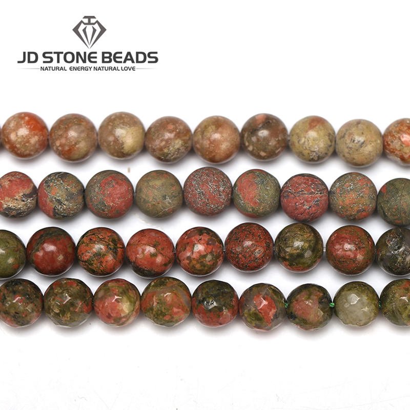 Matte Natural Unakite Faceted 4/6/8/10/12mm Pick Size Gemstone Beads Hot Sale Of Natural Stone DIY Beads For Jewelry Making