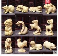 Yellow poplar wood zodiac carving handicraft hand piece rat ox tiger rabbit dragon snake horse sheep monkey rooster dog pig aus