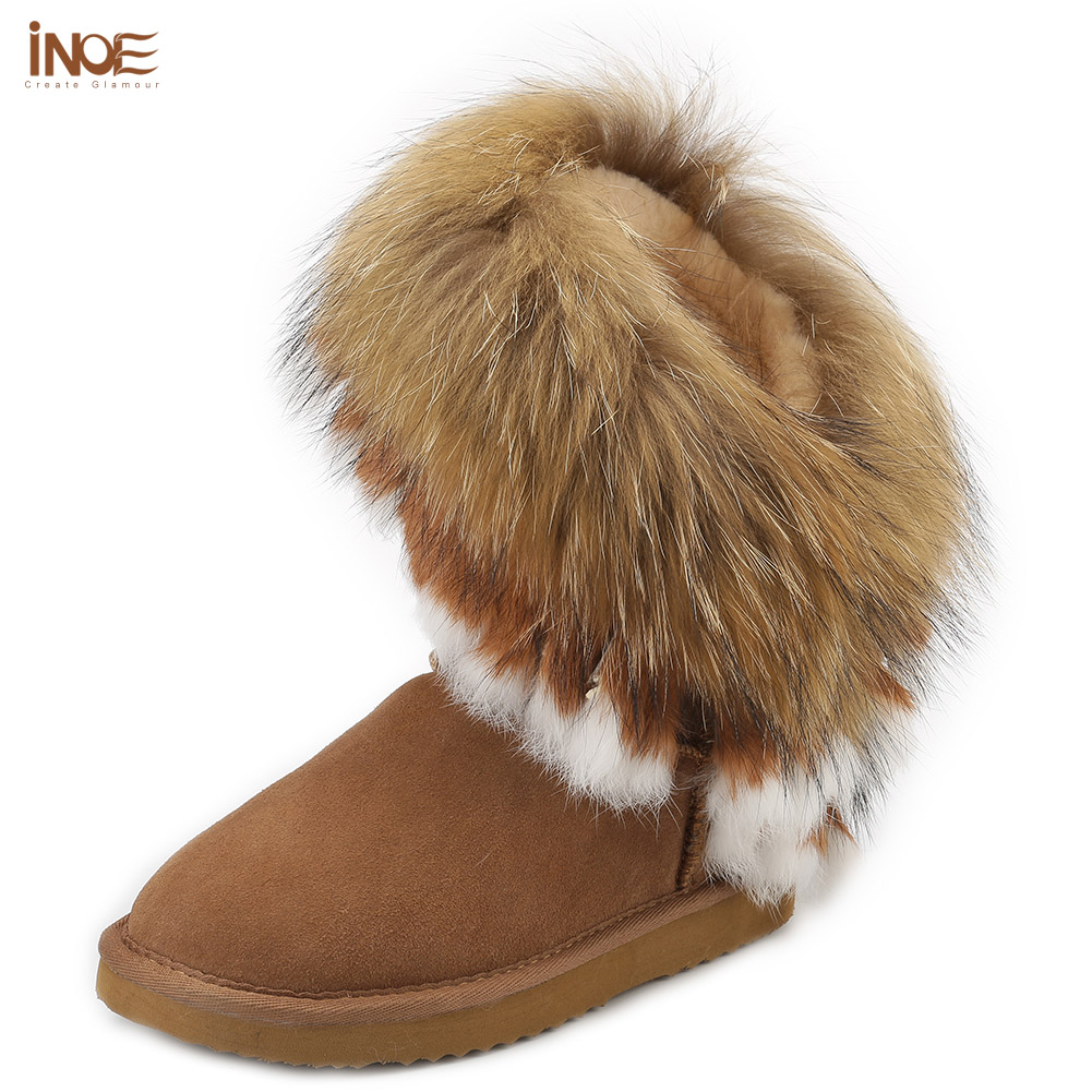 Real sheepskin leather real fox fur tassels fashion suede winter snow boots for women wool fur lined winter shoes