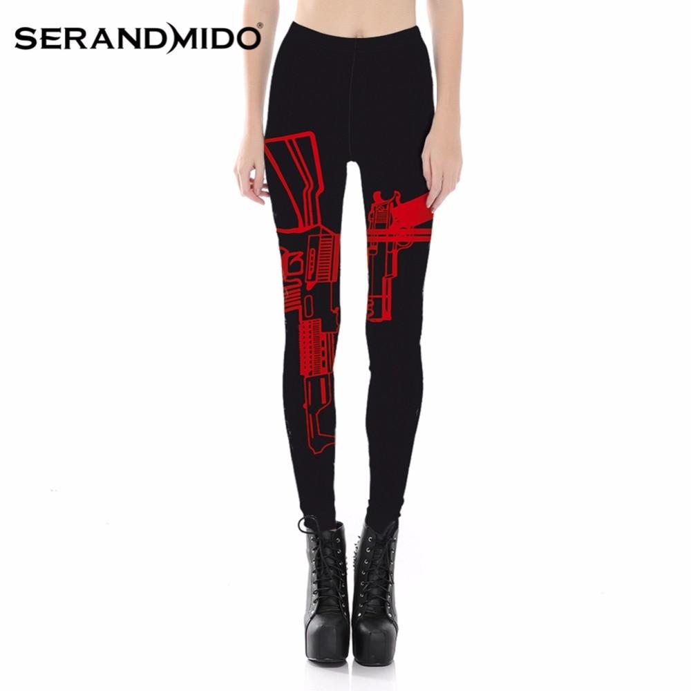 SERANDMIDO Sexy Red Gun Leggings Digital Print Black Transparent Leggings 2017 Casual Pencil Pants Plus Size