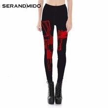SERANDMIDO Sexy Red Gun Leggings Digital Print Black Transparent Leggings 2017 Casual Pencil Pants Plus Size Costumes SML3797