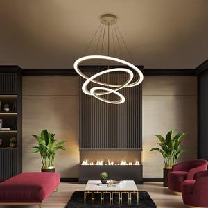Image 4 - Acrylic Rings led Chandelier hanglamp Chandelier Lighting for living room dining room suspension luminaire modern chandelier