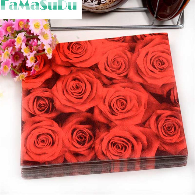 Floral Red Rose Paper Napkin Flower Event Party Tissue Printed