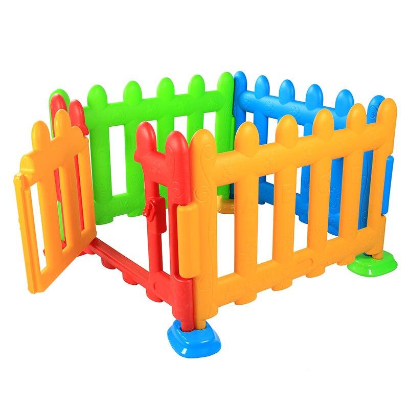 Складной Детей Пластик забор ребенок игры ограждение играть ползать забор безопасности одежда для малышей квадратный манежи с дверью От 6 м...