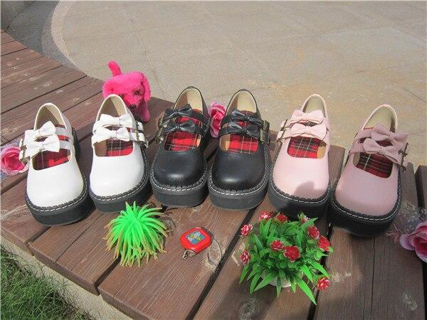 Japonais nouveau Style fille douce noeud papillon chaussures à semelles épaisses mignon chaussures rondes étudiant chaussures A