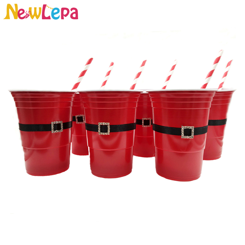 <font><b>Beer</b></font> Pong Red Solo <font><b>Cup</b></font> Santa Claus Diamond Button on Black Ribbon <font><b>Cup</b></font> with Paper Straw American Party Supplies 6pcs/lot image