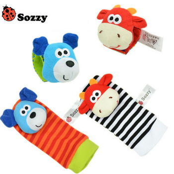 wholesale 16 colors Baby Wrist Socks Toys Bracelet Foot Rattles Garden Protect Wrist Animal Wrist Stripe Foot ring Socks gift 1