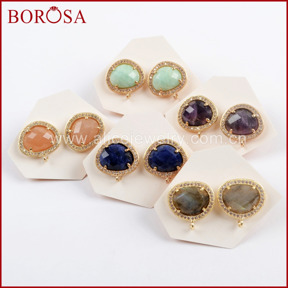 BOROSA 10Pairs Fashion Micro Pave CZ Multi kind Faceted Stone Stud Earring Natural Labradorite Amethysts Earrings