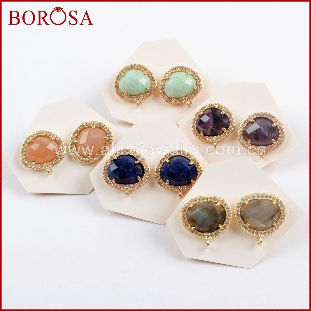 BOROSA 10 par moda Micro Pave CZ wielu swoim rodzaju szlifowane kamień stadniny kolczyki naturalny labradoryt ametysty kolczyki biżuteria WX1033 w Kolczyki z zapięciem typu sztyft od Biżuteria i akcesoria na  Grupa 1