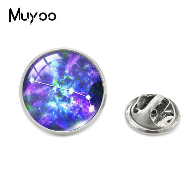 Colorful Galaxy Nebula Zodiak Bintang Tanda Horoskop Kerah Pin Tanda-tanda Zodiak Perhiasan Kerah Pin Handmade Pakaian Pin Hadiah