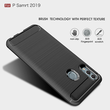 Phone Case for Huawei P Smart 2019 on Carbon Fiber Brushe Soft TPU Silicon huawei