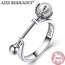 AZIZ BEKKAOUI 925 Sterling Silver Fresh Water Pearl Rings For Women Lovely Finger Ring Sterling Silver Wedding Jewelry(China)