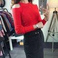 2016 горячих женщин свитера длинный рукав плеча вязаные пуловеры сексуальные тонкий femininas мода свитер topsAA8191