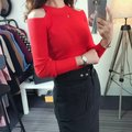 2016 hot women sweaters long sleeve turtleneck shoulder knitted pullovers sexy slim femininas fashion sweater topsAA8191