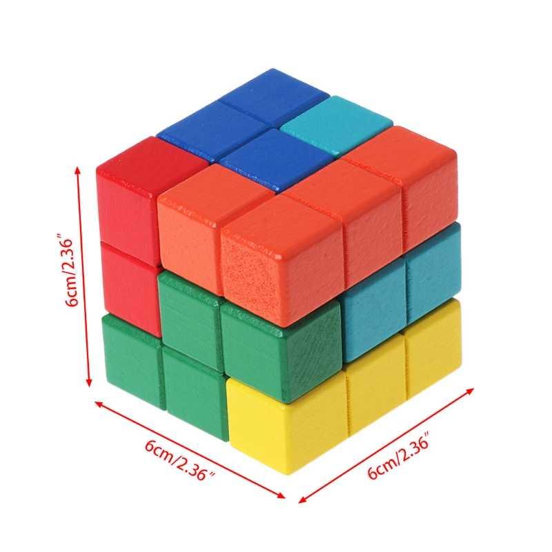 Tetris Magic Cube Multi Warna 3D Kayu Teka-teki Permainan Asah Otak