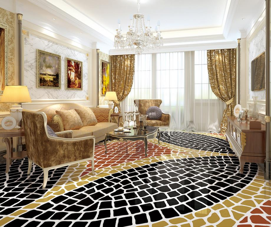 3d floor painting wallpaper Nordic fashion simple abstract geometric pattern floor pvc floor wallpaper 3d flooring in Wallpapers from Home Improvement