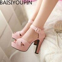 Fashion Fish Mouth Roman Sandals Buckle Ladies Club Ultra high Heels Female Sandals Custom made Size 31 32 33 40 41 42 43