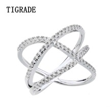 TIGRADE Cross Cubic Zirconia 925 Sterling Silver Ring Women Eternity Wedding Band Simple Rings For Female
