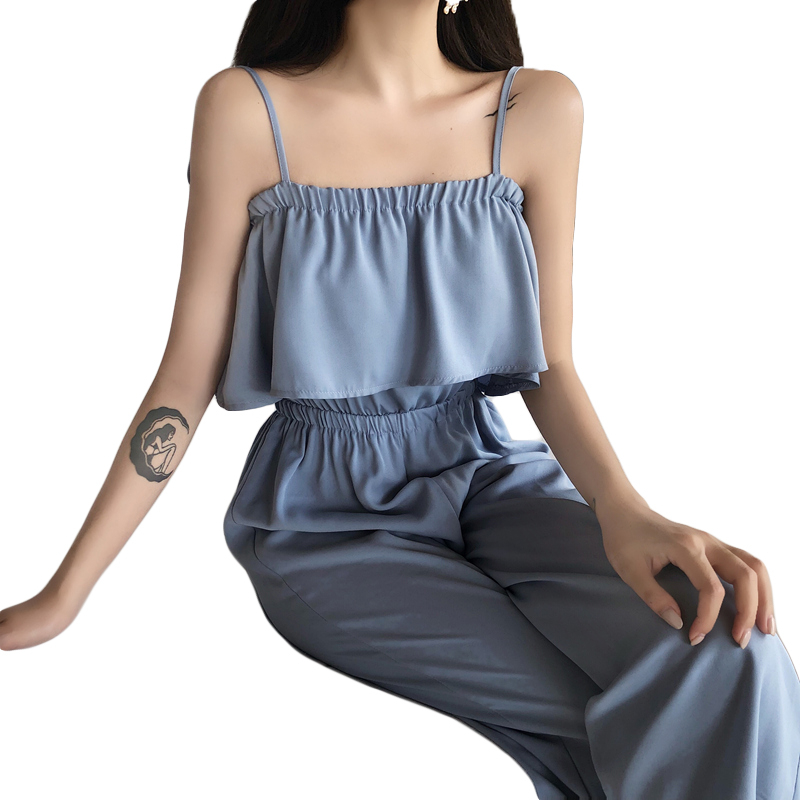 2018 Summer New Plus Size Fashion Women Casual High waist Loose Wrapped chest Wide leg trousers Vintage Female jumpsuit L0036