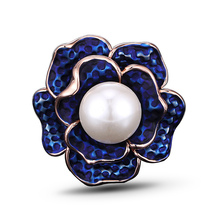 Rose Gold color Round Simulated Pearl Enamel Flower Rings for Women Fashion Hand Painted Elegant Blue Ringen Bague Femme J02317