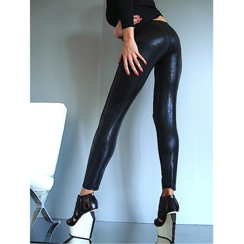 Ladies Sexy Snakeskin Print Leather Trousers High Waist Women's Leather Pants Black Skinny Stretch Pencil Pantalons