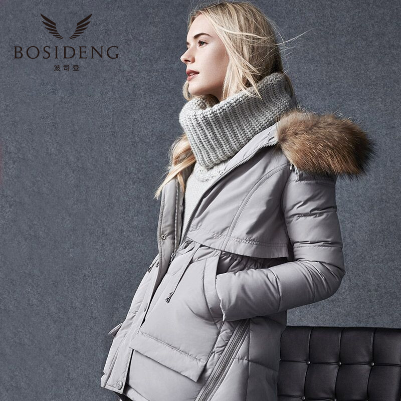 bosideng women's clothing thick down coat down jacket A type big pocket wide lap natural fur collar hooded outwear B1501112