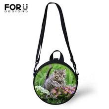 FORUDESIGNS Flower Cats Print Kindergarden Baby Shoulder Bags Women Round Shape Messenger Kawaii Animal Girls Circular