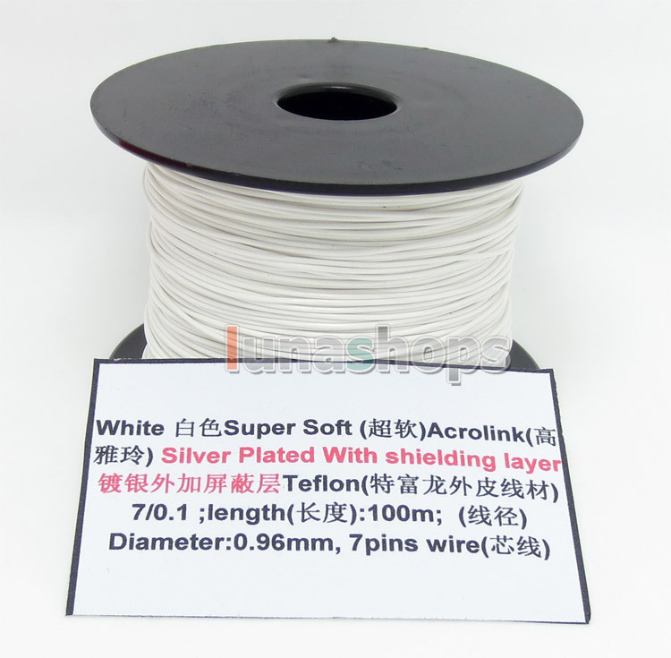 10m 2 color 32AWG Acrolink Silver Plated With Shielding Layer Signal Teflo Wire Cable 70.1mm2 Dia:0.96mm For DIY LN004493