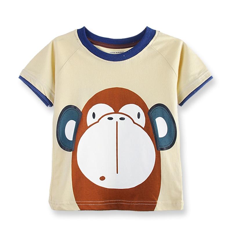Summer Baby Boy Tops Cotton Children T-shirt Short Sleeve Boys T shirts Summer Kids Tees Cartoon Printed Baby Boy Clothing 1-6 Y