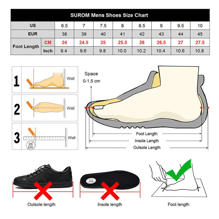 Zapatillas de correr para hombre SUROM zapatillas de verano transpirables de malla zapatos deportivos al aire libre hombres aumento negro superior de encaje zapatos masculinos