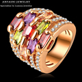 ANFASNI Colorful Zircon Ring Gold Plated Multi-layer Engagement Rings Micro Pave Austrian Crystals Jewelry Free Ship Ri-HQ0215