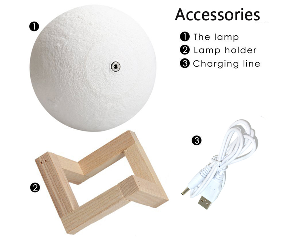 Rechargeable Moon Lamp 2 16 Color Change 3D Light Touch Switch 3D Print Lamp Moon Bedroom Bookcase Night Light Creative Gifts